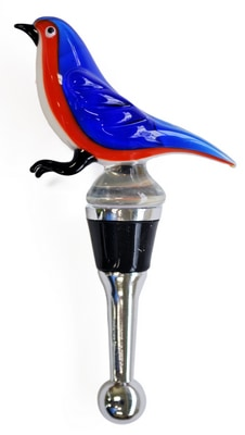 Bluebird Glass Bottle Stopper