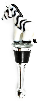 Zebra Glass Bottle Stopper