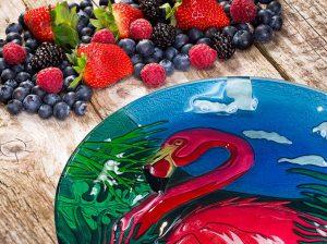 Flamingo Glass Plate