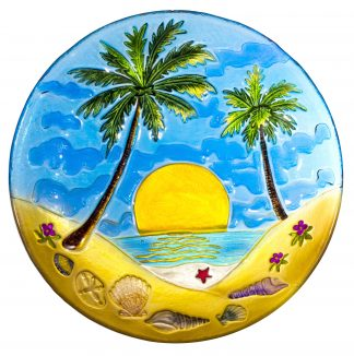 "Palm Tree Glass Plate - 8"" 2"