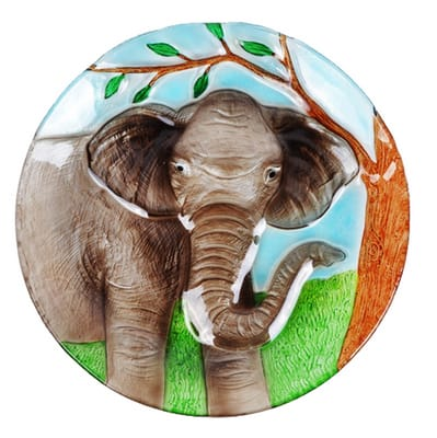 "Elephant Glass Plate - 8"" 2"