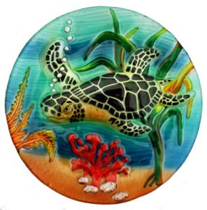 Sea Turtle Glass Plate