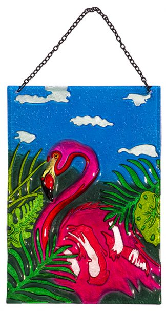 flamingo glass suncatcher
