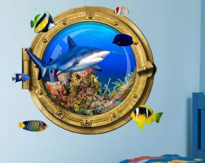 "Porthole Shark 24"" Wall Decal 1"