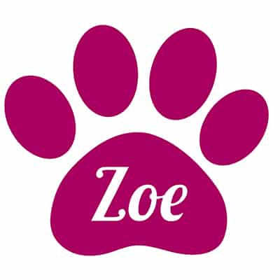"Personalized Paw Print Decal - 4"" 1"