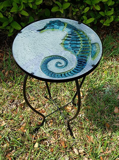 "Gorgeous Seahorse Glass Side Table - 12"" Diameter Top 3"