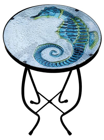 "Gorgeous Seahorse Glass Side Table - 12"" Diameter Top 2"
