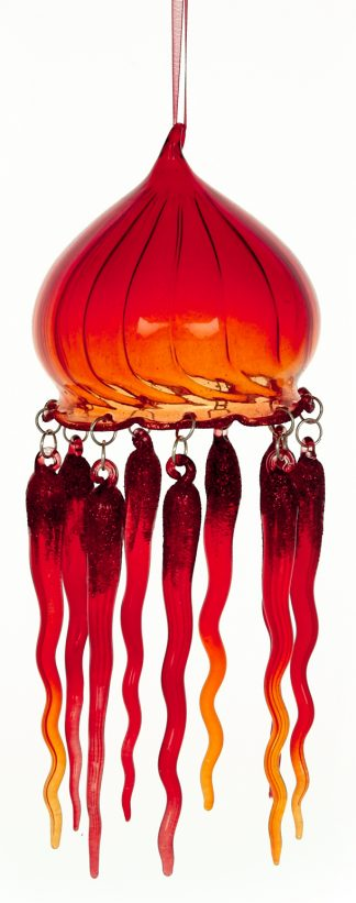 Red Jellyfish Blown Glass Christmas Ornament