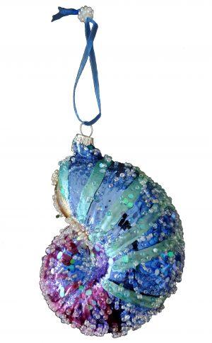 glass seashell Christmas ornament