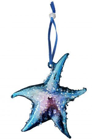Fantastic Blue Glass Seashell Ornaments - Set of 4 2
