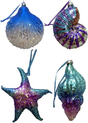 glass seashell ornament