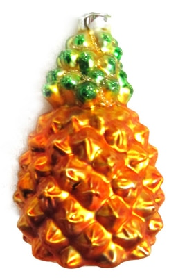 Pineapple Blown Glass Christmas Ornament