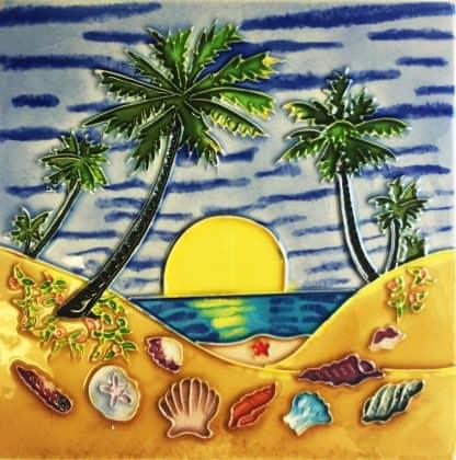 Palm Tree Beach Tile Trivet