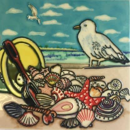Seagull & Seashells Tile Trivet