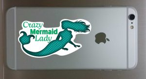 Crazy Mermaid Lady Decal for Cellphone 1