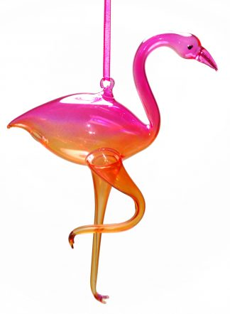 Flamingo Blown Glass Christmas Ornament