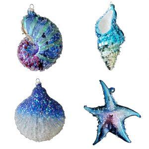 Fantastic Blue Glass Seashell Ornaments - Set of 4 1