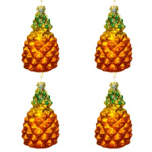 Glass Pineapple Ornament - Set of 4 1