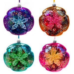 Glass Sand Dollar Ornaments - Set of 4 1