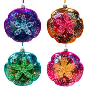 Glass Sand Dollar Ornaments - Set of 4 1