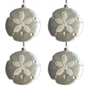 Glass White Sand Dollar Ornament - Set of 4 1