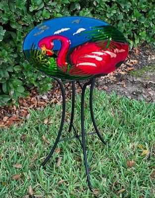 Flamingo Glass Bird Bath Bowl with Stand