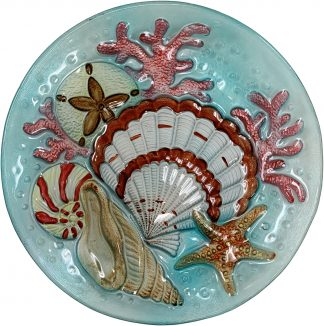 Blue Seashell Glass Plate
