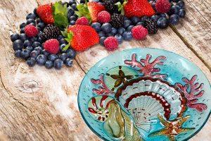 Blue Shell Glass Plate