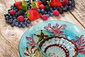 Blue Glass Seashell Plate