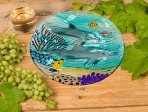 Dolphin Glass Plate