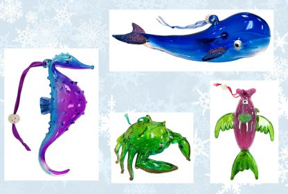 Glass Sealife Christmas Ornaments - Set of 4 (Whale, Crab, Fish, Seahorse)