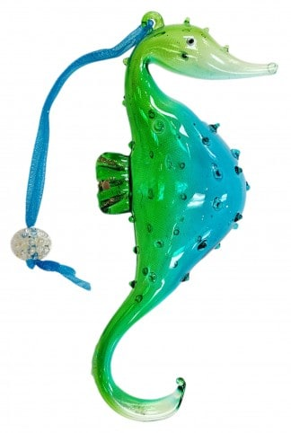 Sealife Glass Christmas Ornament - Seahorse