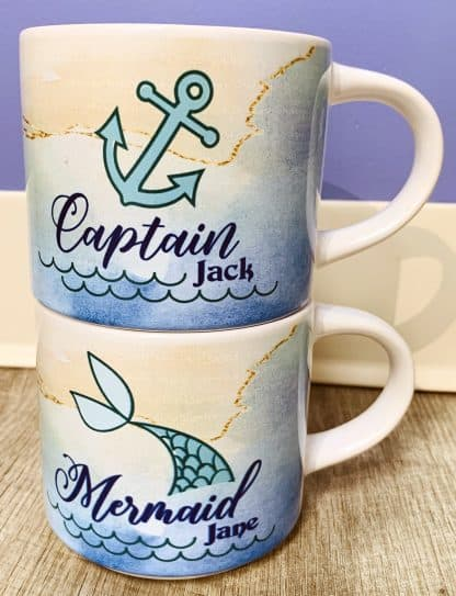 Captain & Mermaid Stackable Coffee Mugs 1