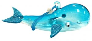 Sealife Glass Christmas Ornament - Whale