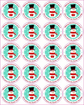 Custom Christmas label - sheet