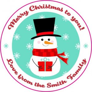 Custom Christmas label - snowman