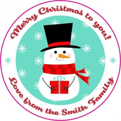 Custom Christmas label - snowman