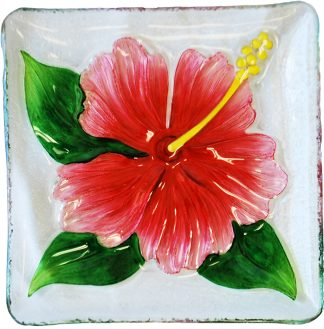 hibiscus glass plate