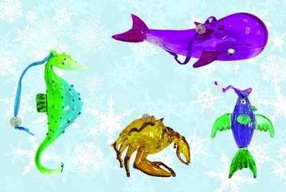 Sealife Glass Christmas Ornaments - Set of 4 1