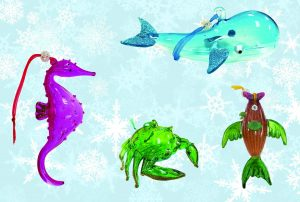 Sealife Glass Christmas Ornaments - Set of 4 2