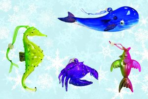 Sealife Glass Christmas Ornaments - Set of 4 1