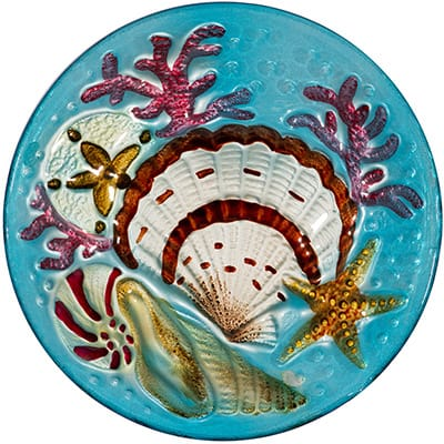 "Seashell Glass Plate - 12"" 2"