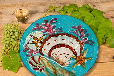 "Seashell Glass Plate - 12"" 5"