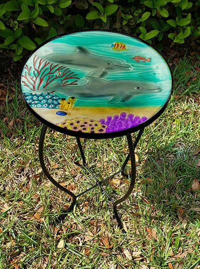 """Playful Dolphin Glass Side Table - 12"""" Diameter Top 1"""