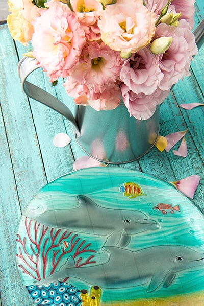 "Dolphin Glass Plate - 12"" 1"
