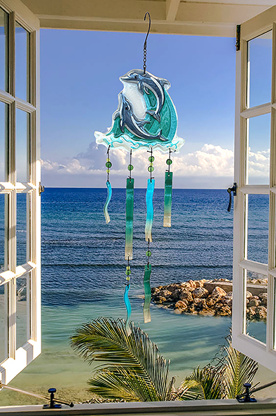 Dolphin Play Glass Wind Chime 3