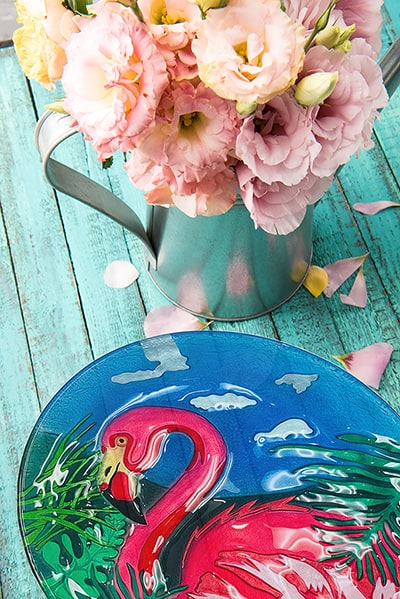 "Flamingo Glass Plate - 12"" 3"