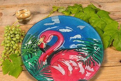 "Flamingo Glass Plate - 12"" 2"