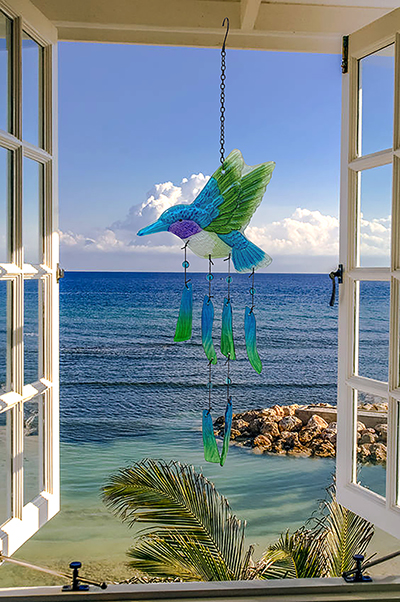 Hummingbird Glass Wind Chime 1