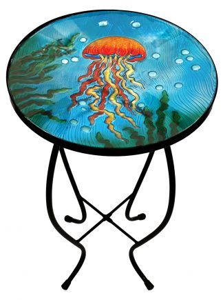 "Exquisite Jellyfish Glass Side Table - 12"" Diameter Top 2"